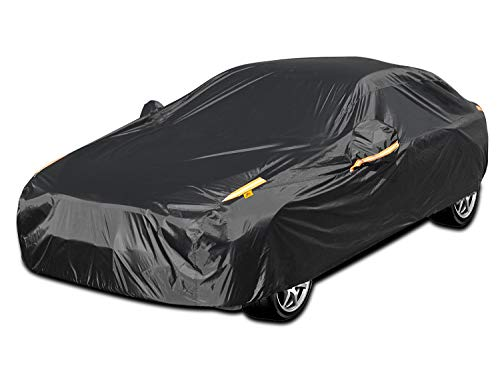 """Color Rain Time UV Protection Car Cover Windproof Dustproof Scratch Resistant Outdoor Universal Full Car Covers for Sedan XL (Black, 191"""" - 201"""")"""