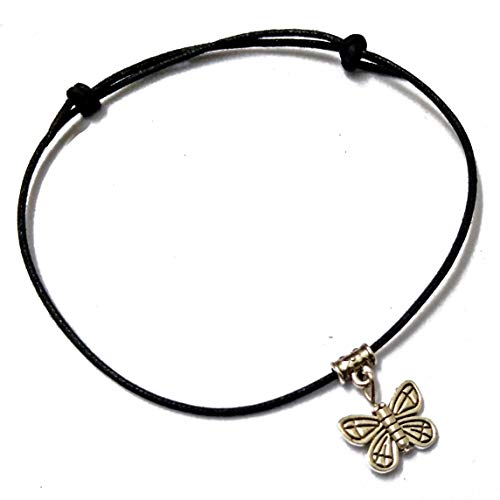 FashionsVilla Butterfly Hanging Oxidised Silver Adjustable Thread Anklet for Women (Black)
