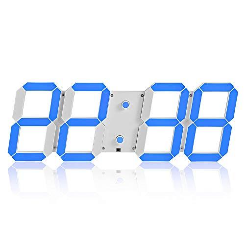 SWNN Wall Clocks Einfache Kreative Büro Kreative Wecker Multifunktions-3D-Stereo-Digital-LED-Wanduhr Fernbedienung Lichtempfindliche Uhr (Color : Blue)