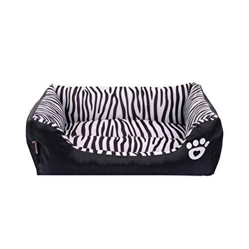 POPETPOP Zebra-Muster-Haustier-Bett-Herbst und Winter-Warmer Haustier-Hundebett-Weiches Kissen