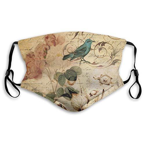 Victoriaanse Rose Vogel Parijs, botanisch, Frans, zwart, gezichtsbescherming