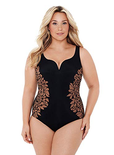 Miraclesuit Women's Plus Size Swimwear Gilted as Charged Temptress Tummy Control Soft Cup One Piece Swimsuit, Black, 24W