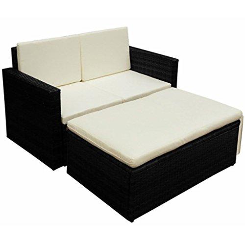 Lingjiushopping Ensemble canapé et repose-pieds de jardin 7 pièces en polyrotin noir matériel : polyrotin + châssis en acier à revêtement poudre Ensemble de meubles d'extérieur