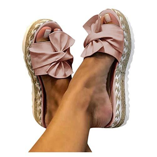 TOPEREUR Espadrilles Damen Sandalen Pantoletten mit Plateau und Schleife, Frauen Sandaletten Peep Toe Hausschuhe Schöne Sommerschuhe Bequeme Strandsandalen (Pink, 40EU)