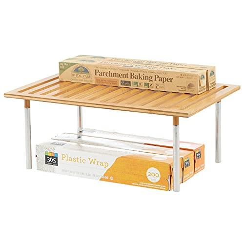 mDesign Organizador de cocina – Práctico sistema de almacenaje de cocina de bambú y metal – Elegante estante de almacenamiento para armarios de cocina, encimeras, etc. – natural