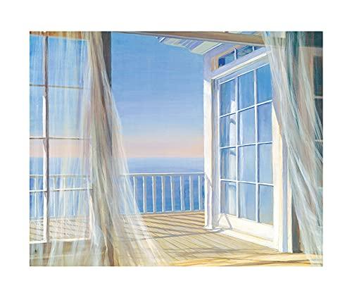 Tapiz de pared, diseño bohemio con forma de ondas de océano, decoración para dormitorio, sala de estar, oficina, 90 x 72 cm