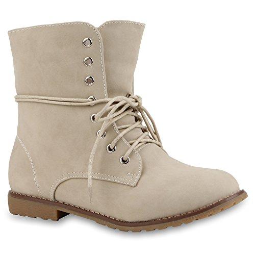 Damen Stiefeletten Profilsohle Worker Boots Leder-Optik Schnürstiefeletten Camouflage Verlours Schuhe 114719 Nude Glatt 37 Flandell