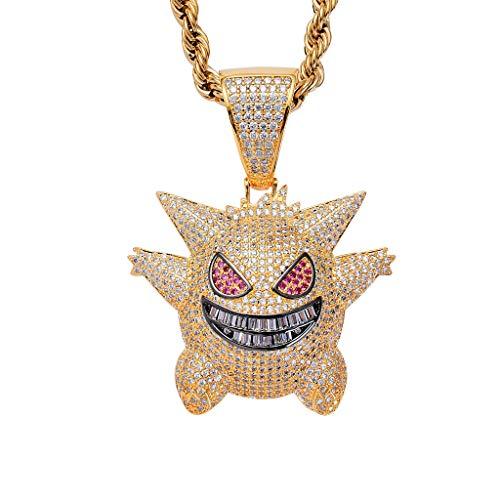 LC8 Jewelry - Colgante de oro de 18 quilates y plata con cadena de 61 cm de cordón inoxidable, diseño de toro de vampiro para hombre