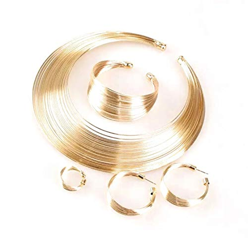 Conjunto de joyería india, gargantilla de Torques de alambre de Metal a la moda, collares, pendientes, anillos, pulsera, conjuntos de moda para mujer, regalo, accesorios nupciales (JOYAS DE ZINC ORO)
