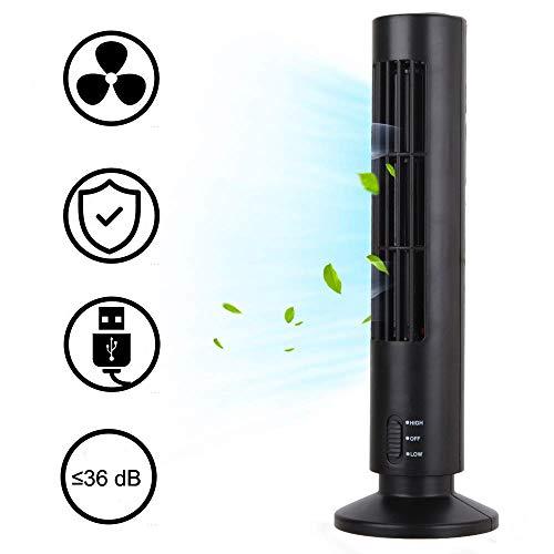 Wysgvazgv Turmventilator Mini Portable USB-Kühlung Säulenventilator Lüfter 2 Geschwindigkeitsstufen 13 Zoll für Hause Büro Schreibtisch (Schwarz)