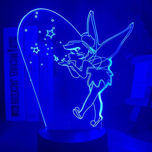 Prinzessin Tinker Bell Figur Led 3D Nachtlampe für Mädchen Raumdekoration Farbwechsel Led Nachtlicht Lampe Fairy Tinkerbell