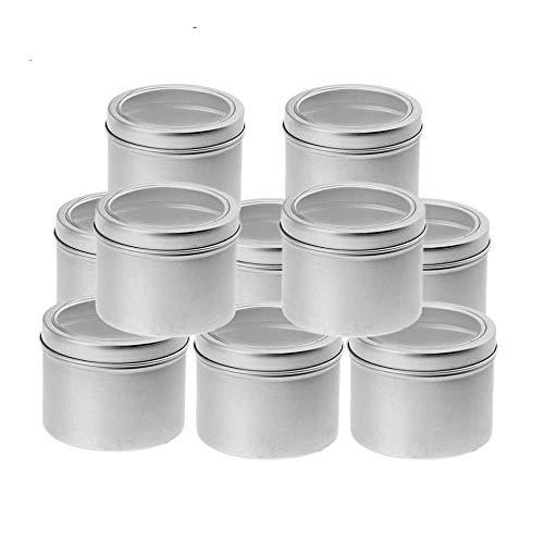 Aomerrt 10 doos van aluminium (100 ml) cosmeticadoos rond met schroefdeksel voor ambachtelijke fai-da-Te, cosmetica, salve, kaars, reisopslag