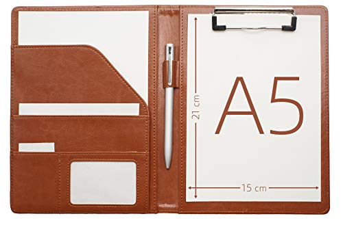 """Junior Padfolio Clipboard Small for 7""""x 9"""" Writing Pad Refillable, Mymazn Faux Leather Folder A5 for Folio Notepad Legal pad 5 x 8 Junior Size Folio Portfolio (Brown)"""