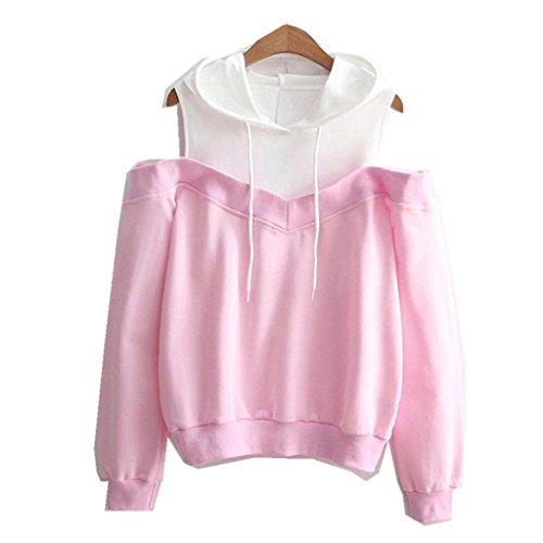 Amlaiworld Sweatshirts Herbst Frauen Bunt Tr?gerlos Kapuzenpulli Damen Warm Sweatshirt Sport Bluse Mode Flickwerk Pullover Niedlich Tops (L, Rosa)