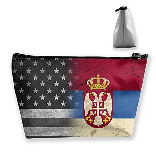 Vintage USA Serbische Flagge Tragbare Reise Kosmetiktaschen Multifunktions-Toilettenartikel-Organizer-Tasche Make-up-Tasche mit großer Kapazität