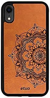 Etui na Apple iPhone XR - etui na telefon Leather Case - cynamonowy brąz - mandala - pokrowiec obudowa case skórzany grawer