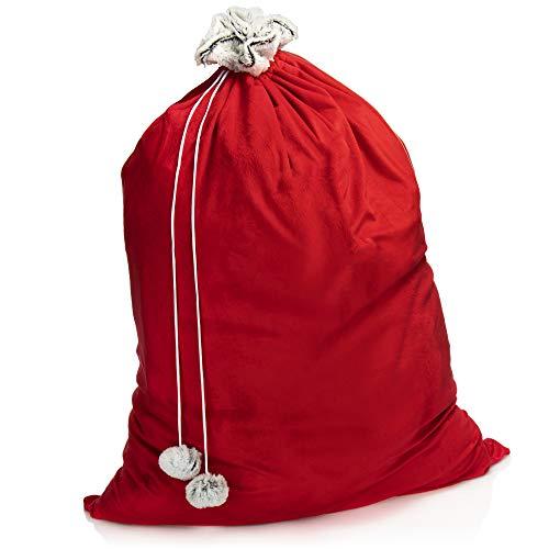com-four® Saco de Navidad Premium XL - Saco de Regalo Rojo para Llenar - Bolsa Navideña con Pompones Decorativos, Estupenda Caja de Regalo (1 Pieza Grande - cordón Gris)