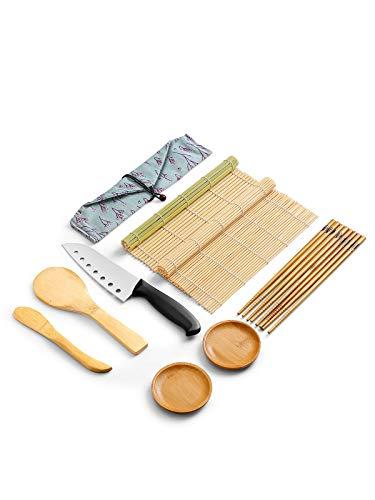 WeeDee Kit Sushi in bambù per arrotolare 9 Pezzi - 2 x stuoie, 1 x Paletta Riso, 1 x spalmatore Riso, 5 Paia di Eleganti Bacchette