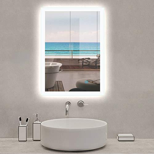 AICA SANITARIOS 50x70cm Tallas Grandes Espejo led baño Rectangular Espejos de Pared con desempañador, Interruptor de Sensor táctil