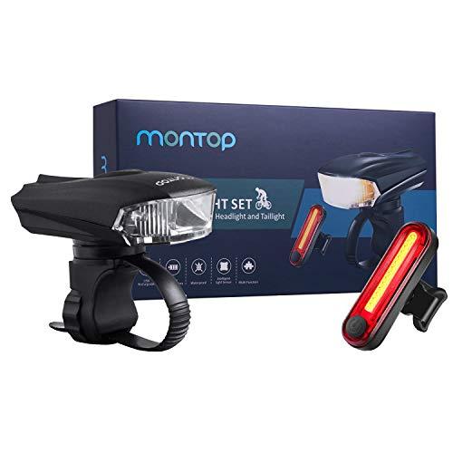MONTOP Fahrrad Licht Set,Fahrradbeleuchtung SetUSB LED,Fahrrad Zubehör Wiederaufladbare