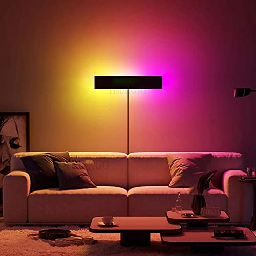 Lámpara De Pared RGB Decoración De Restaurante Regulable Con Mando, Apliques De Pared LED Para Habitación Infantil De Aluminio De 24W Con Cable Y Enchufe, Iluminación De Pared Para Salón