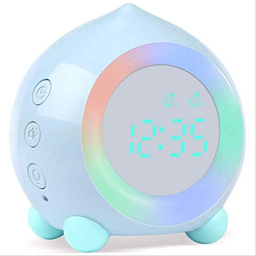 Reloj Despertador Digital para Niños, Simulador De Amanecer con Lámpara De Luz Nocturna Led para Decoración De Dormitorio De Niños Y Niñas Azul