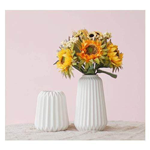 Diseño Pack de 2pcs Origami florero de cerámica florero de Matt elegante Plantación de sobremesa florero blanco Decoración de la pieza central del envase del agua para la pared de la sala de estar