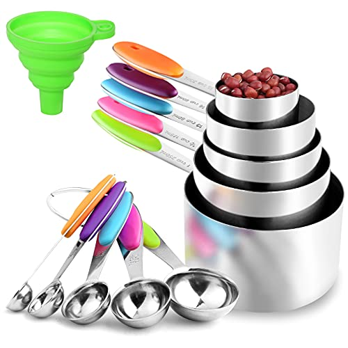 11Piece Measuring Cups and Spoons Set, Stackable Heavy Measuring Spoons and Cups in 18/8 Stainless Steel, Measuring Cup Set and Funnel, Used for Dry and Liquid Kitchen Parent-Child Baking Cooking