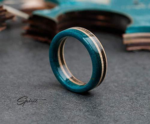 Recycled Skateboard Ring, Wooden Ring, Boyfriend Gift, Blue, Brown, Girlfriend Gift, Anniversary gift, Skate Ring