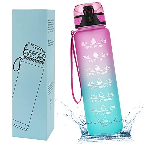Borraccia Motivazionale Nyuevo 1L, Brocca d'Acqua Sportiva Senza BPA in Tritan, Bottiglia d'Acqua Resistente alle Alte Temperature con Indicatore del Tempo per il Fitness e all'Aperto