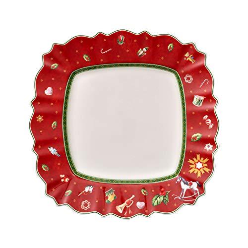 Villeroy & Boch Toys Delight Speiseteller eckig, festlicher Speiseteller für jeden Anlass, Premium Porzellan, rot, bunt, mikrowellensicher