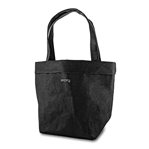 sincory black - schwarze Damen-Handtasche aus nachhaltigem und veganem Material - Henkeltasche aus Kraft-Papier - gefüttert mit umweltfreundlicher Baumwolle