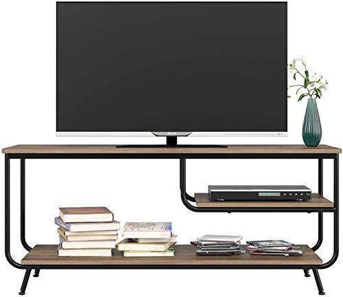 HOMECHO TV-Schrank, Fernsehtisch, TV-Regal, Lowboard mit offenen Fächern, Wohnzimmer, 109x40x51cm, für Ihren Flachbildschirm, Spielekonsolen, Wohnzimmer, Büro, Industrie-Design, Vintage, Braun