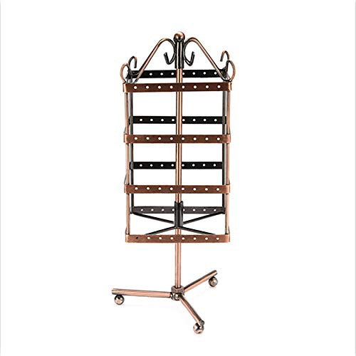 Square Rotating Jewelry Display Stand,4 Layers Wrought Iron Bracelet Ring Earring Holder (128 Holes),Brass
