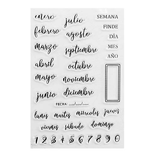 NUEEUDD Fechas en español Sello de sello transparente de silicona Álbum de fotos en relieve DIY Scrapbooking