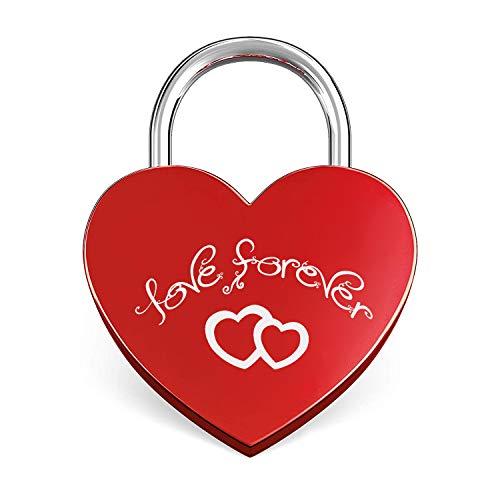 BaiJ Liebesschloss,Herz Schloss mit Gravur und Schlüssel Liebes-Schloss Herzschloss Herz-Schloss Vorhängeschloss für Gepäck Handtasche Tagebuch Valentinstag Frau Mädchen Geschenk Damengeschenk Rot