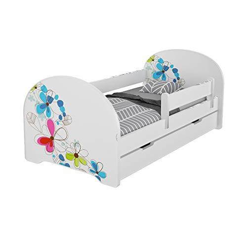 MEBLEX - Cama infantil para niños, color blanco con cajones y colchón de espuma de seguridad, 160 x 80 cm, muebles de dormitorio para niños con estructura de cama completa de MDF con cabecero integrado, Flores, 160x80cm