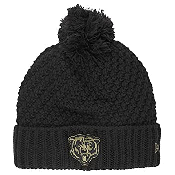 New Era Women s Black Chicago Bears 2020 Salute to Service Cuffed Pom Knit Hat