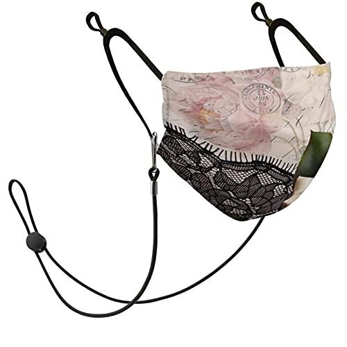 DearLord Máscara facial unisex lavable reutilizable con bucles ajustables para los oídos, filtro de repuesto y 1 cordón de guiones franceses vintage encaje blanco victoriano rosa