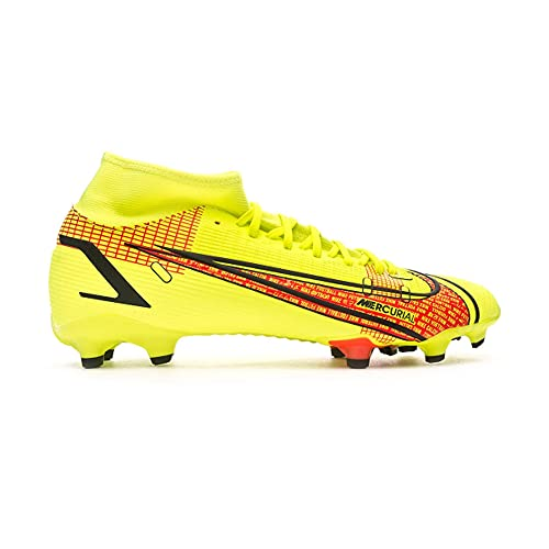 Nike Superfly 8 Academy FG MG, Zapatos de fútbol Hombre, Volt Black-Bright Crimson, 44 EU