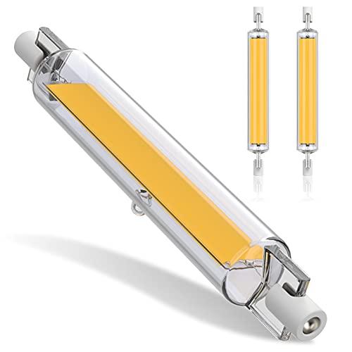 Bombillas LED R7S, 118 mm, 20 W, blanco cálido, 3200 K, luz de 360 grados, 1600 lm, bombillas COB de doble extremo para lámpara de pared y pasillo, no regulable, clase energética