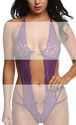 Tuopuda Lenceria Mujer Sexy Lencería de una Pieza Ropa de Dormir de Encaje Ropa Interior Body de Cuello Halter (Púrpura)