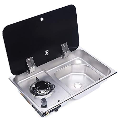 Boat Caravan RV Camper Burner L-P-G Gas Stove Hob and Sink Combo With Glass Lid and Faucet