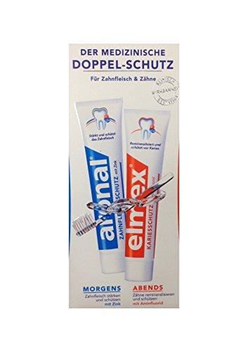 aronal Zahnpasta aronal und elmex Zahnpasta für Zahnfleisch & Zähne, Doppelpack 2x 75ml Zahncreme5ml Zahnfleischschutz mit Zink PZN: 9431782 elmex Forschung
