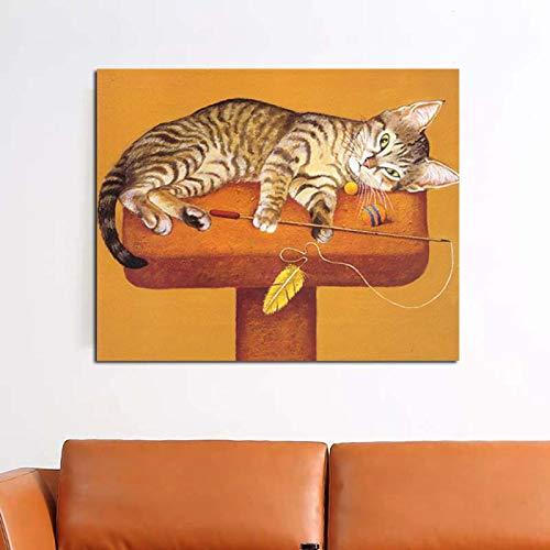 Schlafende Katze druckt Wohnzimmerdekoration Moderne Wandkunst Ölgemäldeplakat auf Leinwand,Rahmenlose Malerei,70x90cm