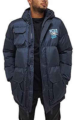 Marc Ecko Ecko Mens Boys Navy Berlinetta Parka Puffer Padded Hooded Warm Winter Jacket Hip Hop (M, Navy)