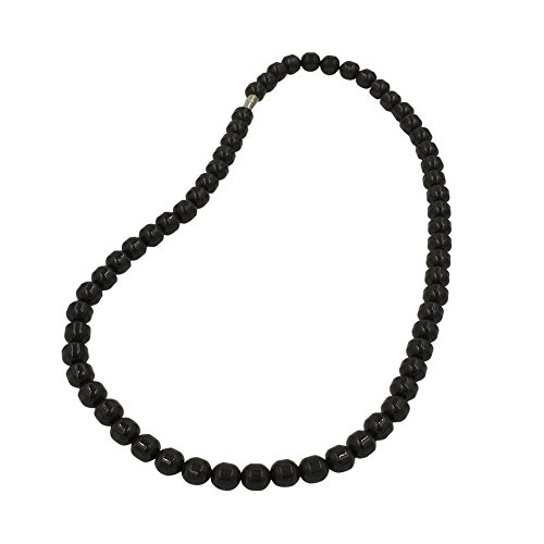 POWER IONICS Collar elástico de turmalina negra con cuentas de iones para la salud (negro).
