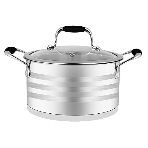 ECPURCHASE Stock Pot Stockpots, 4 Quart Stainless Steel Pot Soup Pots with Lids, Dishwasher Safe Cooking Pot for Home, Restaurant And Camping Use, Portable Size