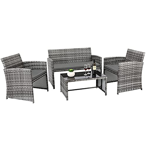 4 PCS Rattan Garden Table and Chairs, Outdoor Patio Furniture Set, with 1 x Double Sofa, 2 x Armchairs, 1 x Coffee Table, For Outdoor Lawn Poolside