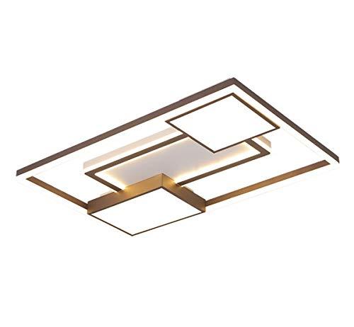 LED Lámpara De Techo Regulable Luz De Comedor,Incl.Control Remoto,Incluido Control Temperatura Color,Rectangular Diseño Iluminación De Techo Moderno,Blanco Acrílico Lámpara De Salón Dormitorio Marrón